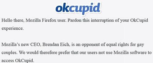 OKCupid に表示されたメッセージ