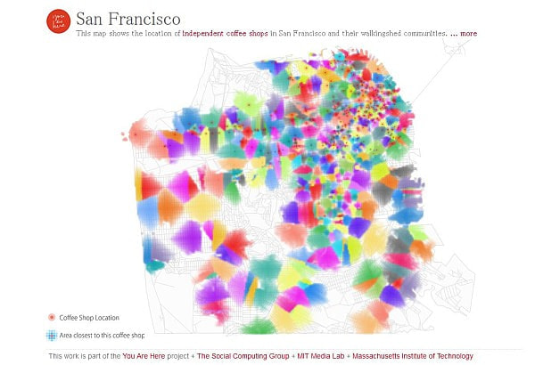 抽象画のように美しいカフェマップ公開--Google+ と連動