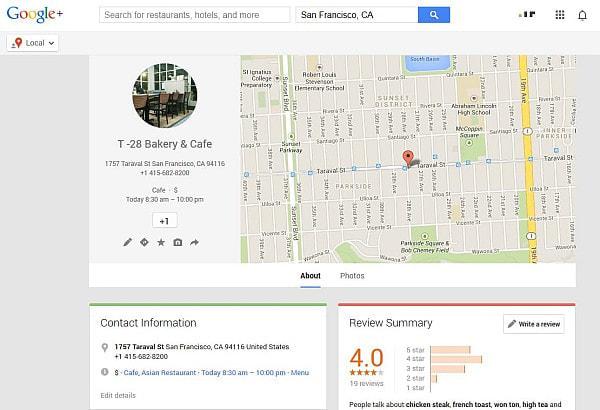 カフェの Google+ ページを閲覧できる (出典:Google+)