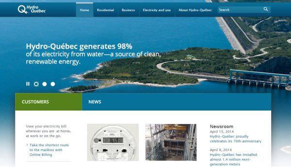 Hydro-Québec の Web サイト (出典:Hydro-Québec)