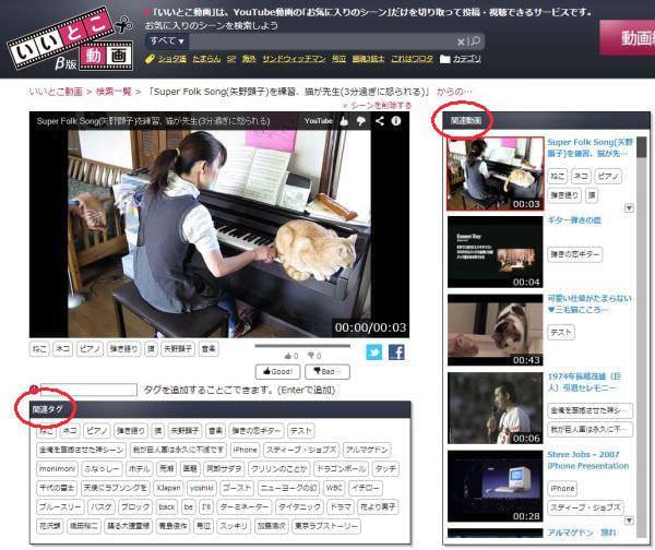 視聴画面には「関連動画」「関連タグ」も表示される (出典:マイクロアド)