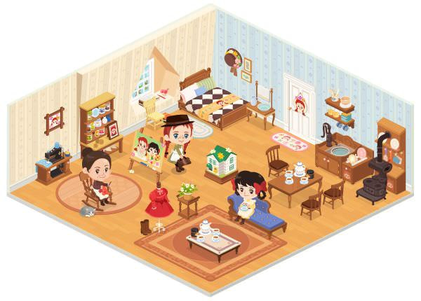 "「グリーン・ゲイブルズ」を模した LINE PLAY のルーム (C)NIPPON ANIMATION CO., LTD. ""Anne of Green Gables""(TM)AGGLA"