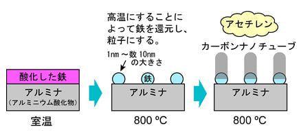 一般的な熱CVD法によるカーボンナノチューブの成長の様子