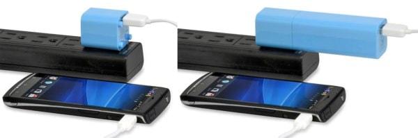 AC 充電器(左)として使用したり、バッテリと端末を同時に充電(右)したりできる