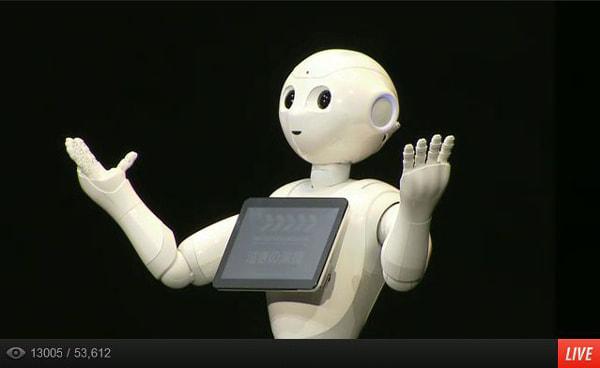 ソフトバンク、クラウド AI で動くヒューマノイドロボット「Pepper」発表、19.8万円で来年2月発売