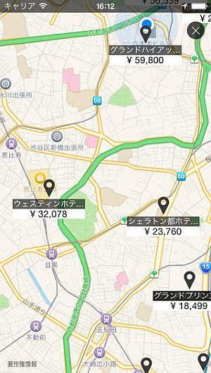 アプリ内での、ホテルのリスト表示(左)と地図上での表示(右)