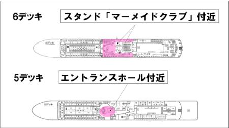 きそ船内で Ferry Wi-Fi TRIAL に接続できるエリア