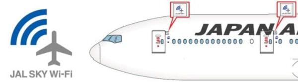 対応機に掲示される JAL SKY Wi-Fi のロゴ