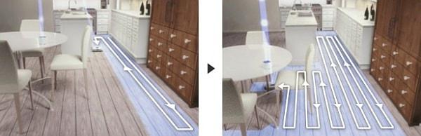 各種センサーの働きで、家具の間も床面もきれいに