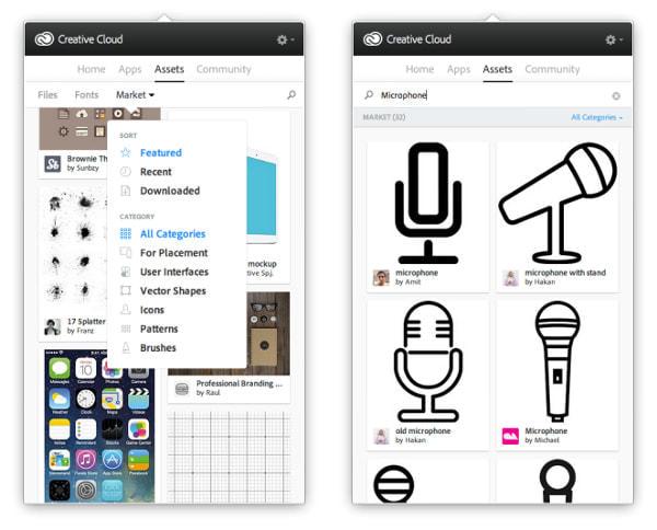 Adobe、アイコンや UI などデジタル素材の「マーケット」開設、Creative Cloud 会員向けに
