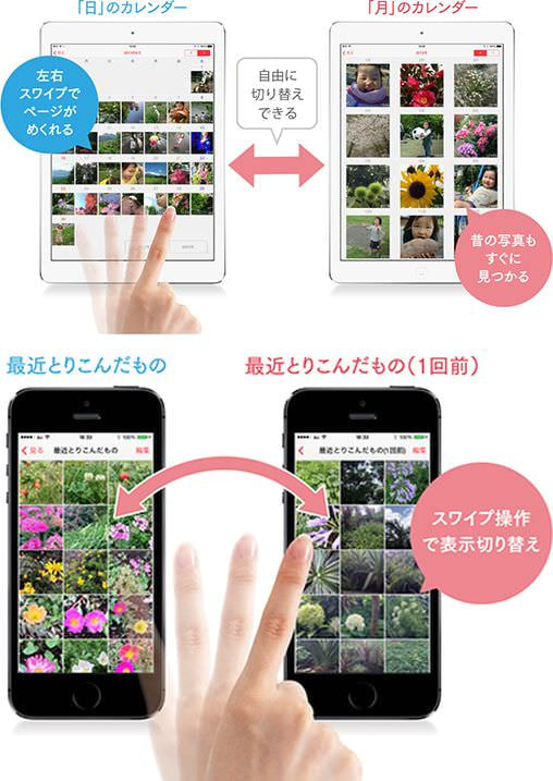 上:写真のカレンダー形式表示 下:取り込んだ単位でも表示可能