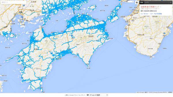 Google、猛烈な大雨の降った四国周辺の通行実績情報マップを公開