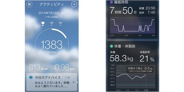 PHR アプリケーションの画面例