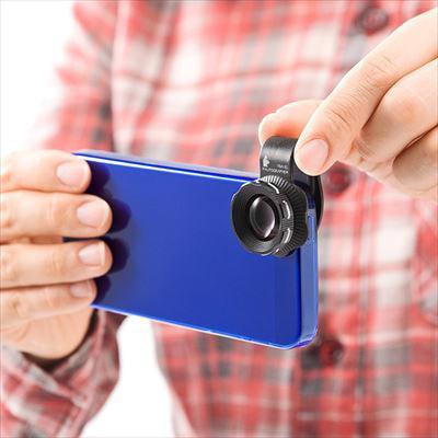 iPhone にクリップで取り付けられる2倍望遠カメラレンズキット--サンワサプライ