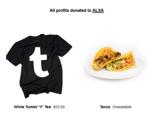 Tumblr、おもむろに T シャツを売り始める-- 利益は ALS 協会に寄付