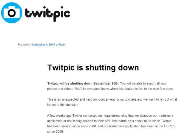 Twitter 連携の画像共有サービス「Twitpic」が突如終了へ、なぜ今更 Twitter は商標問題を持ち出した?