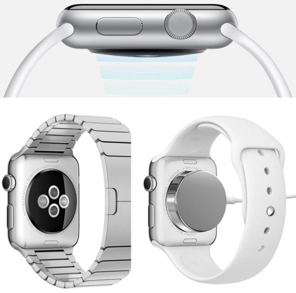裏面にさまざまな機能を搭載 上:振動を伝えるアクチュエータ 下左:LED を使った心拍センサー 下右:磁石式の充電アダプタ (出典:Apple)