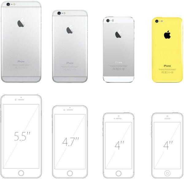 新モデルと現行モデルのサイズ比較 左から iPhone 6 Plus、iPhone 6、iPhone 5s、iPhone 5c (出典:Apple)