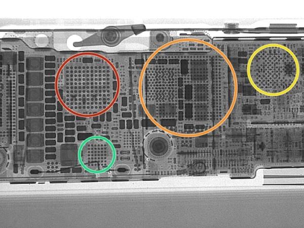 iPhone 5s の X 線透視画像