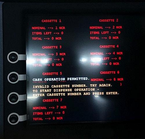 Tyupkin に感染した ATM の画面