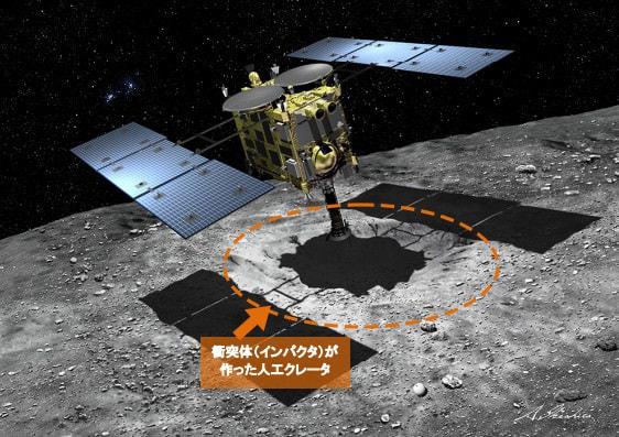 小惑星でサンプル採取を行う「はやぶさ2」の想像図 (提供:JAXA/池下章裕氏)