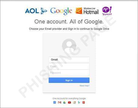Google ドライブの偽サイト