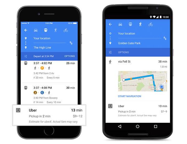 Google マップ刷新-- ルート検索時に Uber のタクシー待ち時間を表示