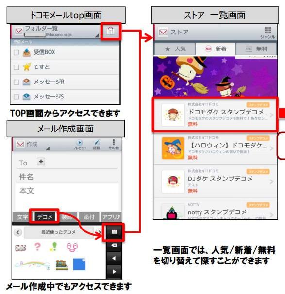 「ドコモメールストア」、Android メールアプリ内でデコメ素材や着せ替えテーマを直接販売