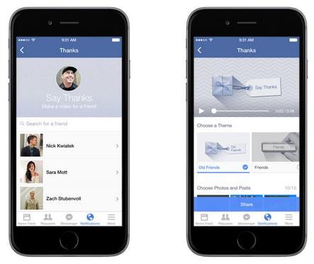 Facebook、特別な思い出を集めた動画を贈ることができる Say Thanks 機能を追加