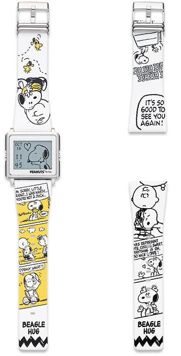 電子ペーパー腕時計「Smart Canvas」にスヌーピー「PEANUTS BEAGLE HUG」モデル