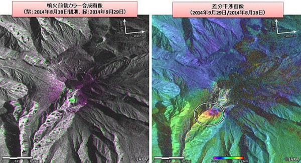御嶽山噴火の前後の様子を比較した画像