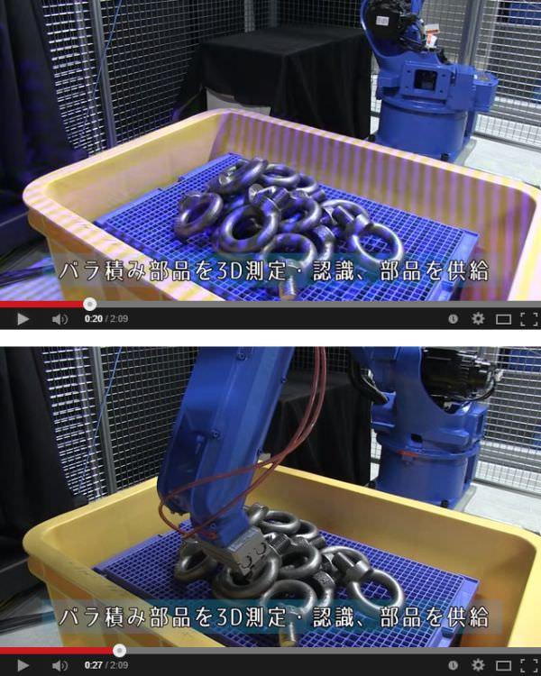 上:パターン(この場合は縞模様)を照射して 3D 認識 下:ロボットアームに指示して把持