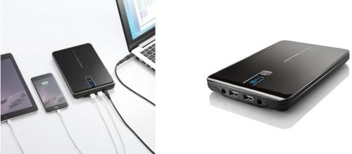 ノート PC・タブレット・スマホを3台同時充電できる大容量モバイルバッテリ