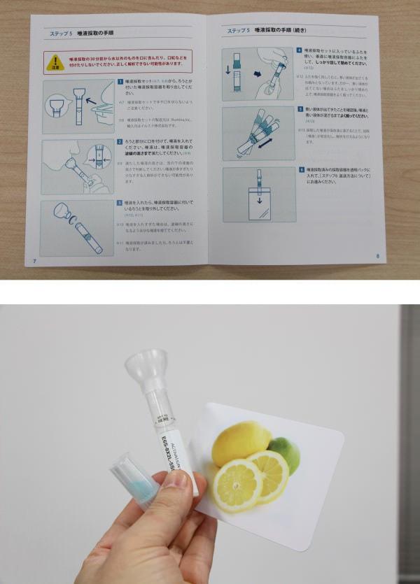 上:唾液の採取はいたって簡単 下:唾が出やすいようレモンの写真付き