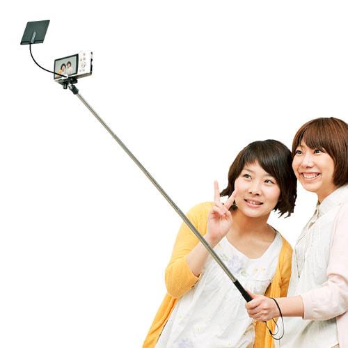 スマホのメインカメラやデジカメで高画質セルフィーを、鏡で画面を見られる自撮り棒