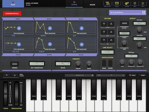 iPad がカシオ「CZシリーズ」シンセになるアプリ発売、向い合せ鍵盤で2人プレイも