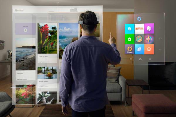 視界がそのまま3Dスクリーンになる装着式ホログラフィック コンピュータ「Microsoft HoloLens」登場