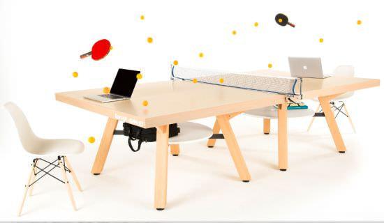オフィスで卓球ができる!1台2役のテーブル「ピンポンワークテーブル」