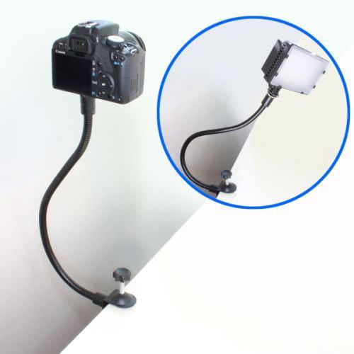 自由自在にカメラを固定、クネクネ動くクランプ式フレキシブルアーム