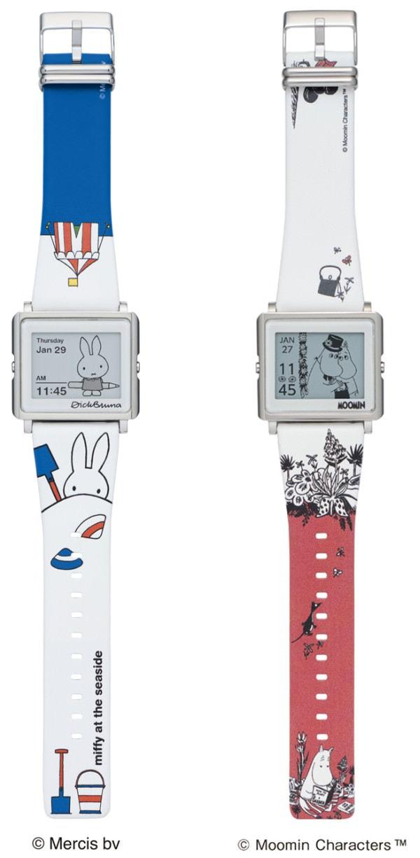 エプソンの電子ペーパー腕時計「Smart Canvas」、「ミッフィー」「ムーミンママ」追加