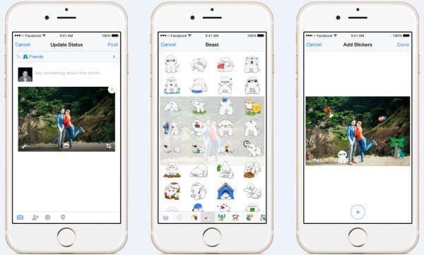 Facebook で写真にスタンプを貼る新機能、全世界で順次実装