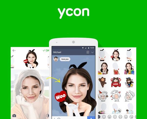 "LINE、""自撮りスタンプ""作成アプリ「ycon」を無償提供"