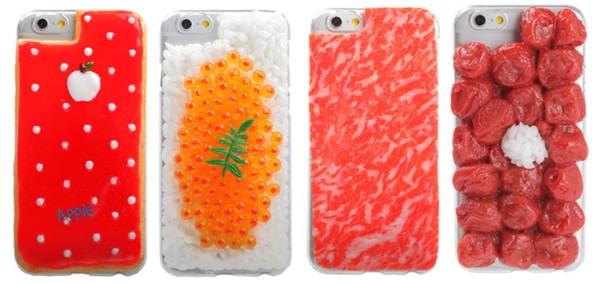 iPhone 6 用の食品サンプル ケースは「アイシングクッキー」「いくらご飯」「生肉」「復讐弁当/梅干」