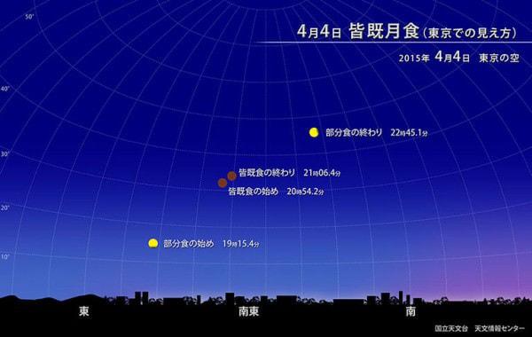 東京での月食の見え方 (出典:国立天文台)