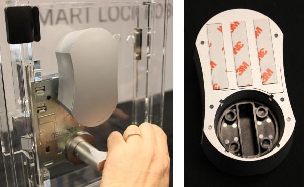 左:取り付けはサムターンの上に貼り付けるだけ 右:内側にサムターンを回す機構が見える