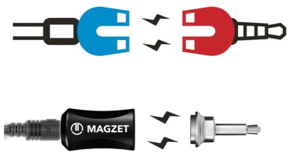 MAGkap(左)と MAGjack(右)を磁石で繋ぐ