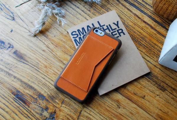 シンプル/高機能な天然牛革 iPhone 6 ケース「Leather Pocket Bar」