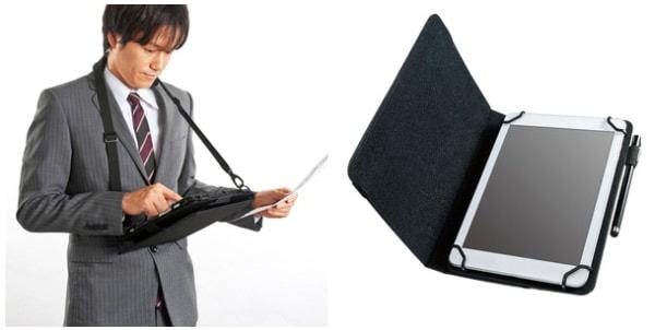 ゴムバンドで固定する汎用タブレット ケース、ショルダー型の12.5インチ用、手帳型の8インチ用