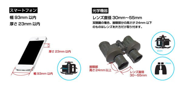 取り付け可能な光学機器とスマートフォン