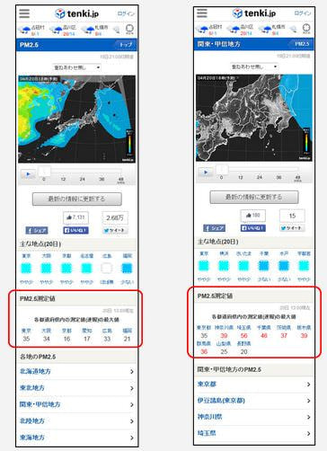 tenki.jp、PM2.5 分布予測情報で実測値も分かるように